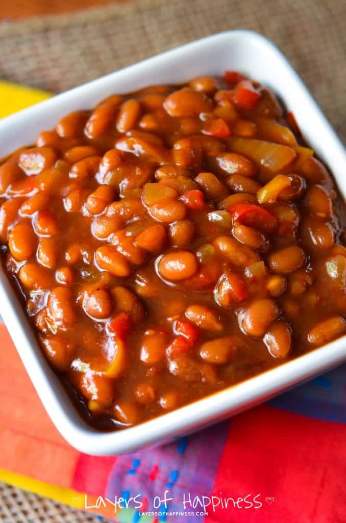 Crockpot Vegetarian Baked Beans - Layers of Happiness