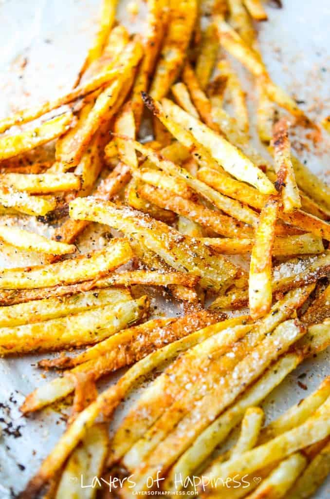 Extra Crispy Oven Baked French Fries - Layers of Happiness