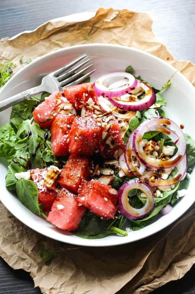 Balsamic Watermelon Feta Salad - Layers of Happiness