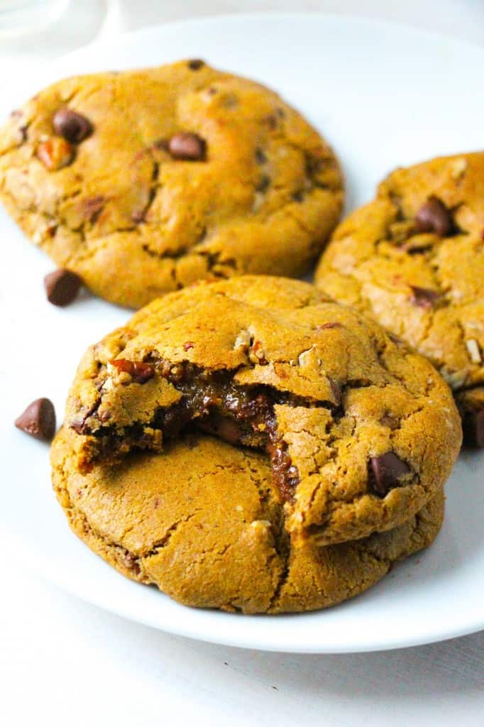 Nutella-Stuffed Pumpkin Chocolate Chip Cookies - Layers of Happiness