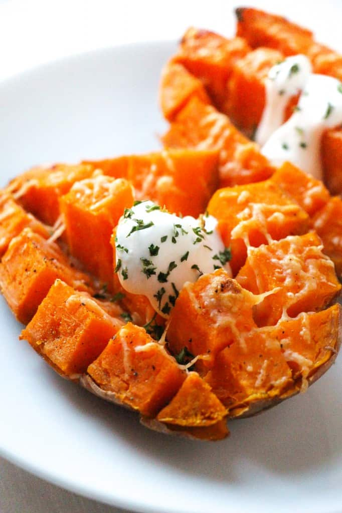 Easy 15 Minute Roasted Sweet Potatoes - Layers of Happiness