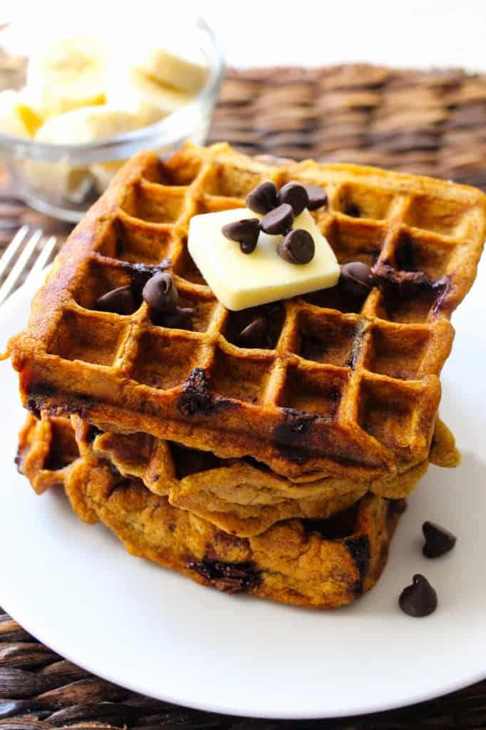 Healthy Pumpkin Chocolate Chip Waffles - Layers of Happiness