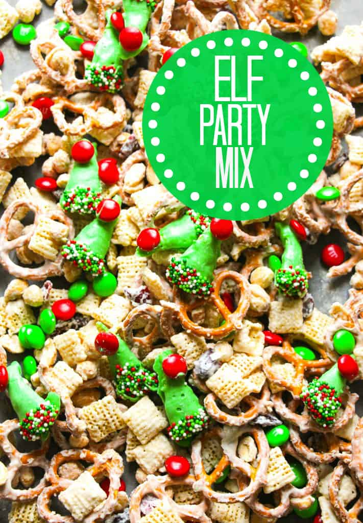 Chex Mix Christmas.White Chocolate Elf Hat Party Mix